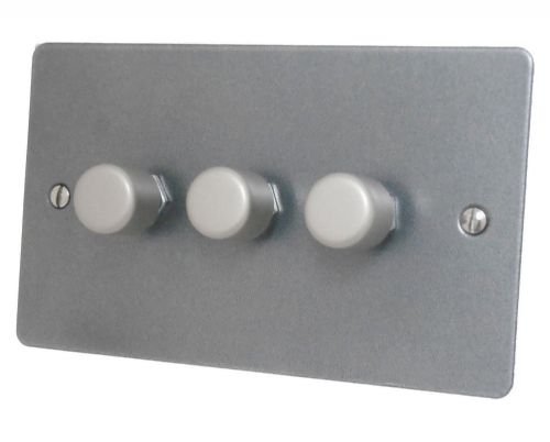 G&H FP13 Flat Plate Pewter 3 Gang 1 or 2 Way 40-400W Dimmer Switch